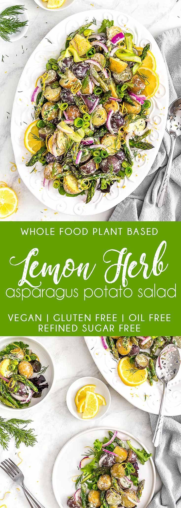 DELICIOUS Lemon Herb Asparagus Potato Salad! Perfect addition to picnics and parties! #vegan #glutenfree #oilfree #potatosalad #plantbasedrecipes #veganrecipes #plantbased #refinedsugarfree #healthy #healthyvegan #monkeyandmekitchenadventures #recipe