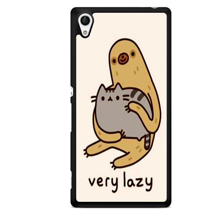 Pusheen Cat and Sloth TATUM-9009 Sony Phonecase Cover For Xperia Z1, Xperia Z2, Xperia Z3, Xperia Z4, Xperia Z5