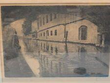 "BELA SZIKLAY ""NAVIGLIO"" VENICE  (VENEZIA) ORIGINAL SIGNED ETCHING 1930's"