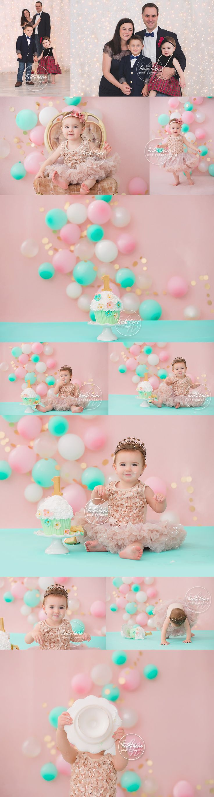 Celebrating first birthday with a pink, gold and mint green cakesmash fit for a princess! | Heidi Hope Photography