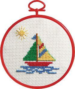 Sailboat Counted Cross Stitch Kit 3-34 Round 14 Count