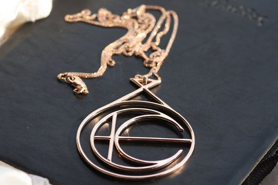 Rose Gold Necklace/ Unique design pendant/ 14K Rose gold