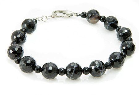Banded Onyx and Black Spinel Bracelet