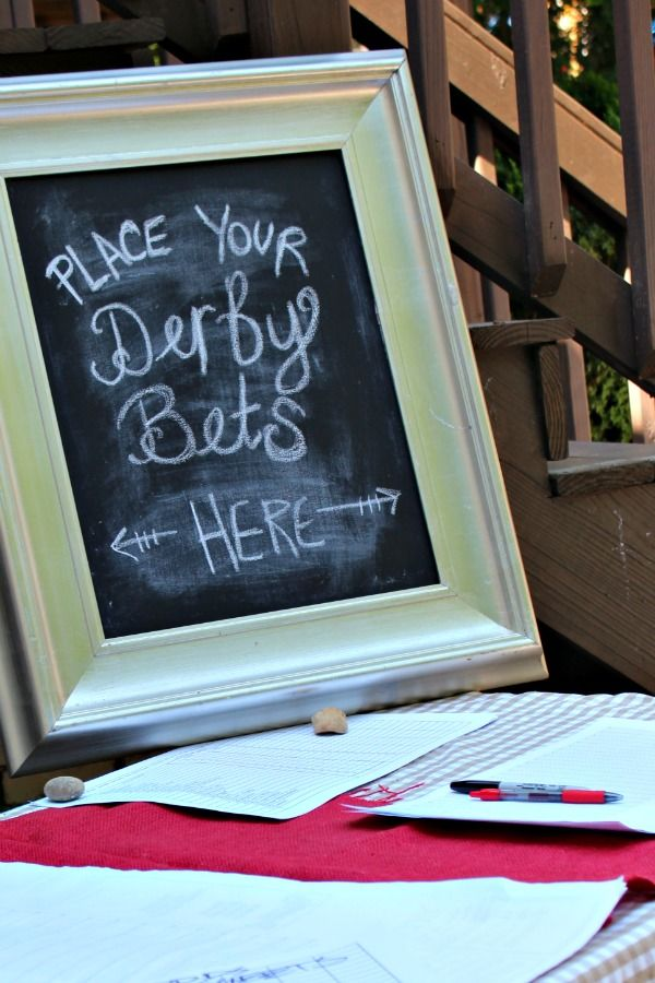 Kentucky Derby Party Chalboard- PLACE YOUR DERBY BETS HERE. So cute!