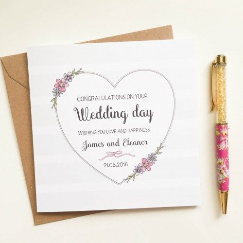 Best 7 personalised wedding cards images on pinterest card wedding personalised handmade wedding card heart and flowers stopboris Image collections