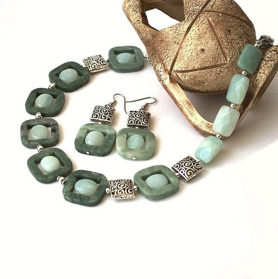 Jewerly set of amazonite and marble natural gemstone by Juwero, $55.00