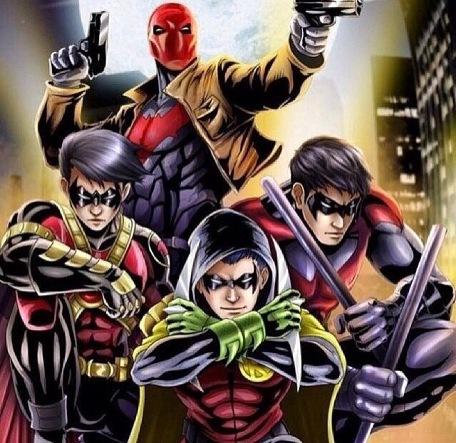 The Bat Family, love this but what's going on with tims hair?!