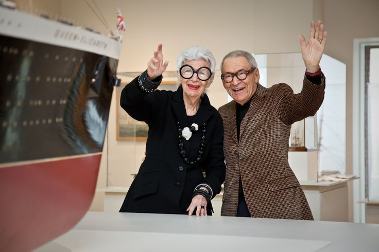 Iris Apfel with husband Carl Apfel in PEM galleries