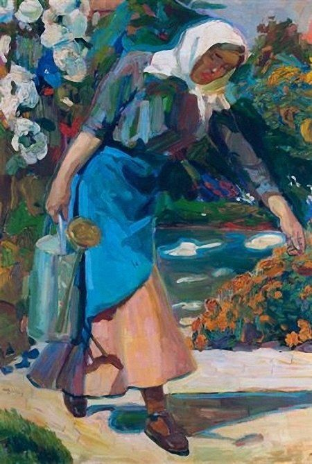 In the garden Artist: Nikolaos Lytras Style: Expressionism Genre: genre painting
