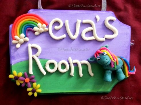 Clay My Little Pony Door Sign / Name Plate for Girls