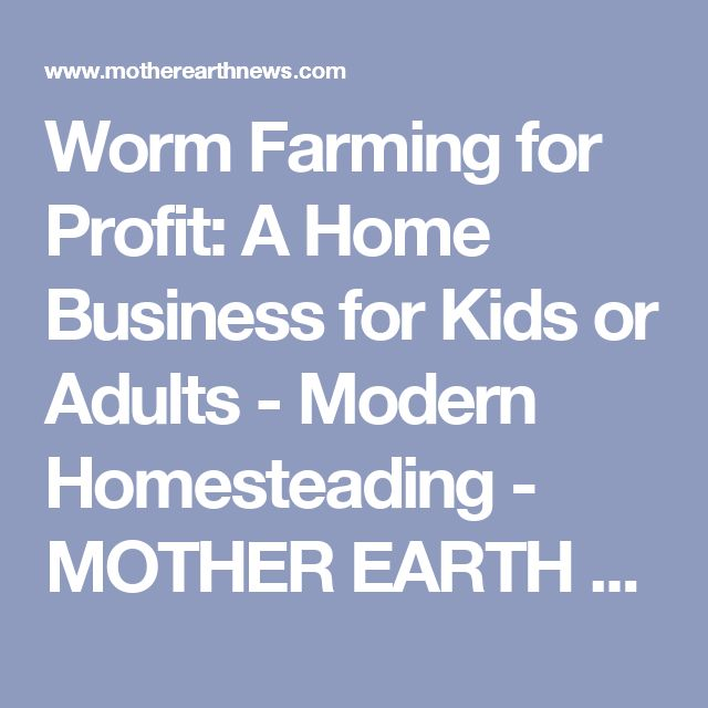 Worm Farming for Profit: A Home Business for Kids or Adults - Modern Homesteading - MOTHER EARTH NEWS