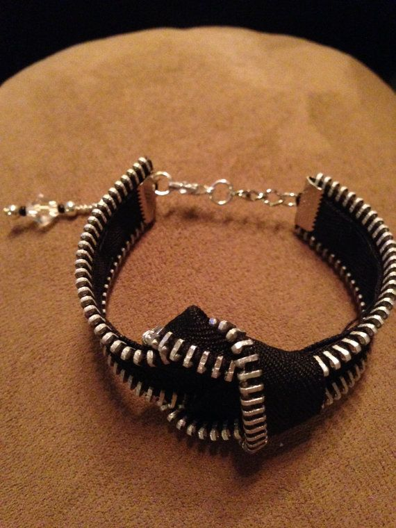 Solid Infinity Zipper Bracelet with 2 Charms by ZippersbySarah, $23.00