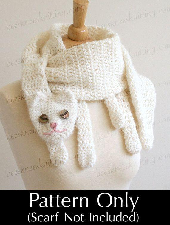 Patrón de ganchillo de PDF digital para gato Cuddler bufanda - DIY moda Tutorial - descarga inmediata - sólo en inglés