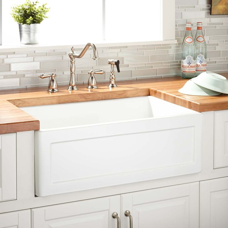 "30""+Ellyce+Fireclay+Reversible+Farmhouse+Sink+-+Recessed+Apron+-White"