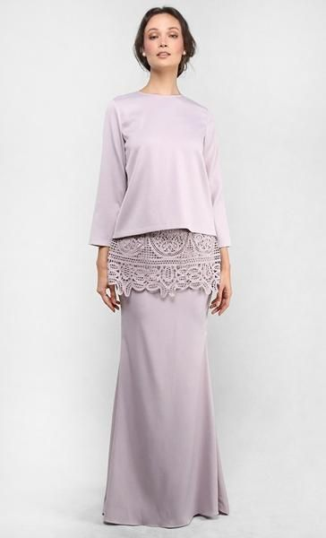The Kurung with Lace Peplum Skirt in Light Taupe