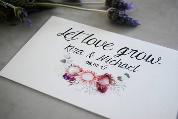 Personalised Wedding Seed Favours. Give your guests a lasting reminder of your love. Envelopes come custom printed with your details, sealed with wildflower seeds already inside. All that's left to do is gift them to your guests! A thoughtful, cost effective and easy wedding favour!