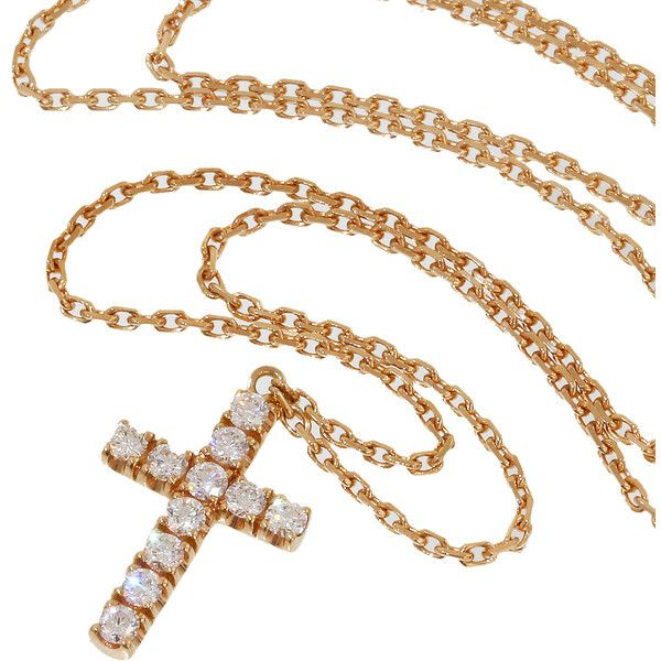Pre-Owned Cartier Cross Diamonds Chain Pendant Necklace in 18K Rose... ($1,899) ❤ liked on Polyvore featuring jewelry, necklaces, rose gold, rose gold cross necklace, rose gold cross pendant, chain necklace, diamond cross pendant and cross chain necklace