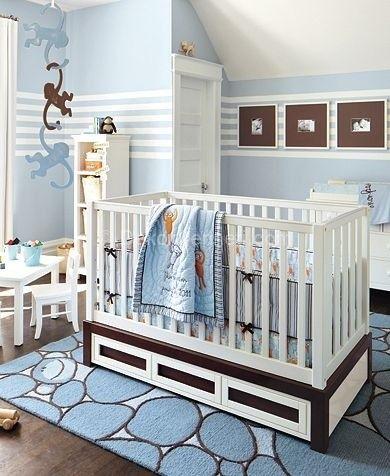 Erkek bebek odası kahve/mavi Dekorasyonu