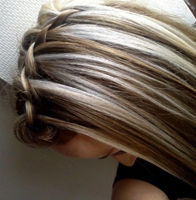 Blonde Chunky Highlights for Brunettes going gray   Blonde streaks in dark brown hair