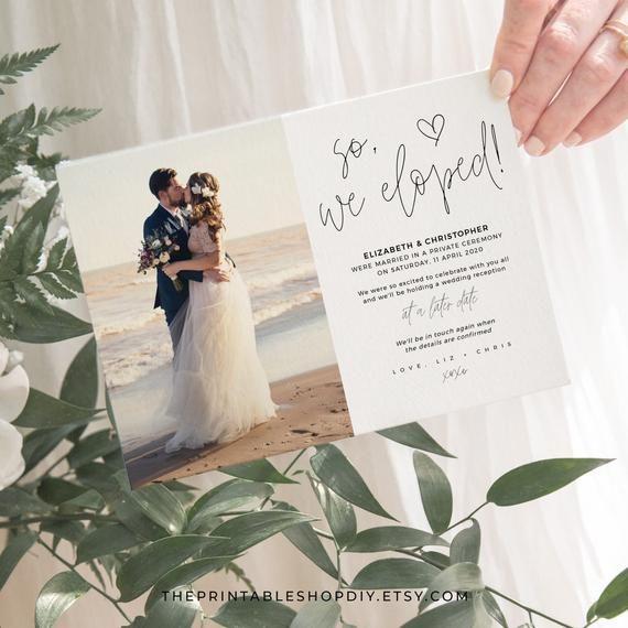 Wedding Elopement Announcement Photo Wedding Invitation Template Card Wedding Photo Download