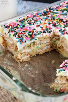 Funfetti Birthday Cake Icebox Cake - layers of birthday cake Oreos, cake batter pudding and cake batter whipped cream! No bake and so delicious!