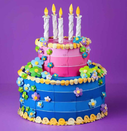 Adorable paint chip cake- can also make it for boys in different colors and with different designs.