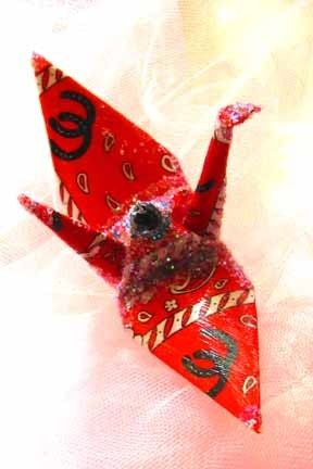Western Wedding Peace Crane Cake Topper Party Favor Origami Christmas Ornament by localcolorist, $8.00