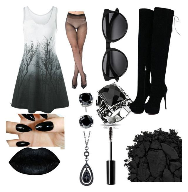 """""""Black heart"""" by izzyfifteen on Polyvore featuring West Coast Jewelry, Urban Decay, Charlotte Russe, 1928 and CZ by Kenneth Jay Lane"""