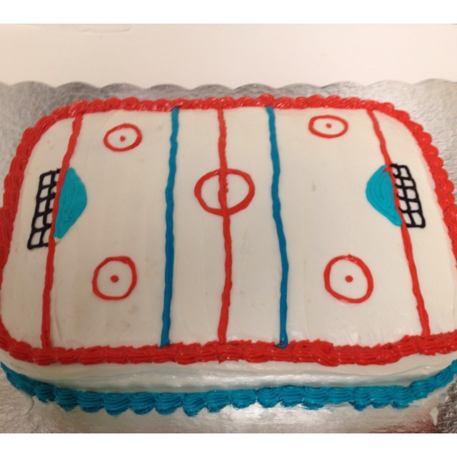 Cupcake Decorating Ideas Hockey : Hockey cake! Kid Stuff Pinterest