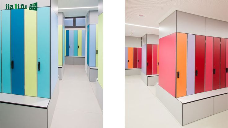 {Vivid style}--staff lockers in bright colors, showing vivid office atmosphere