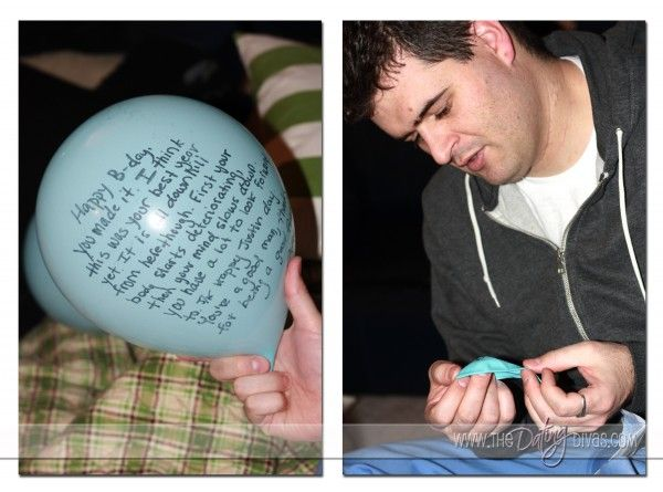 Birthday Balloon Cards. (have friends write a note on a balloon, then deflate it and mail it the the birthday boy. He gets 'cards' in the mail that he has to blow up and Voila! birthday balloons! )So well thought out.  I am so glad my husband doesnt have pinterest.
