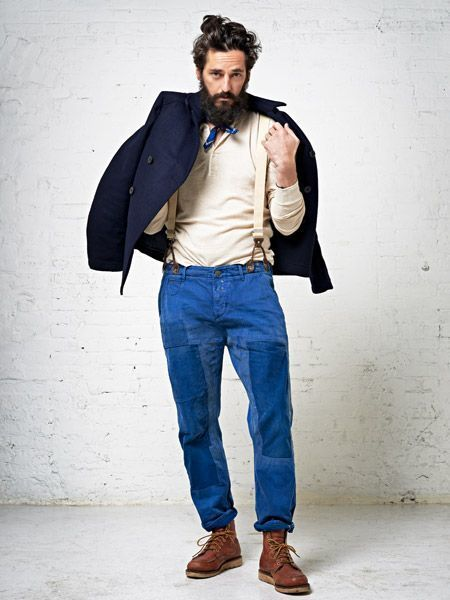 men 39 s navy wool blazer beige henley shirt blue chinos. Black Bedroom Furniture Sets. Home Design Ideas