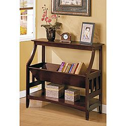 Functional bookshelf will enhance and organize your living room, office or den  Furniture features three shelves to showcase your treasures  Shelving is made of solid wood with a walnut brown finish