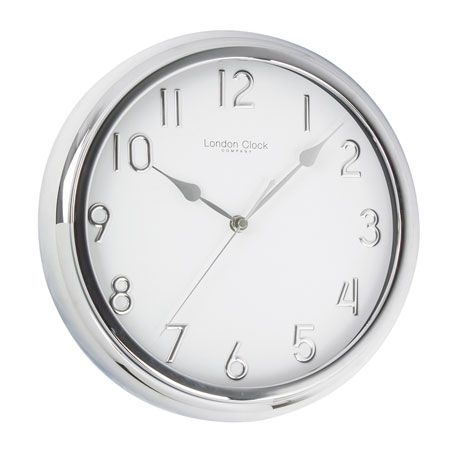 GLOSS SILVER AND WHITE FACE WALL CLOCK