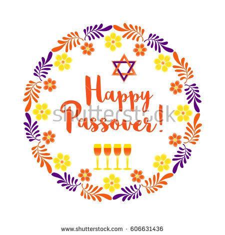 Happy Passover. Fancy letters text. Floral frame border for spring Pesach holiday celebration. Seder wine, David star traditional symbol Jewish kosher dinner decoration. Vector invitation background