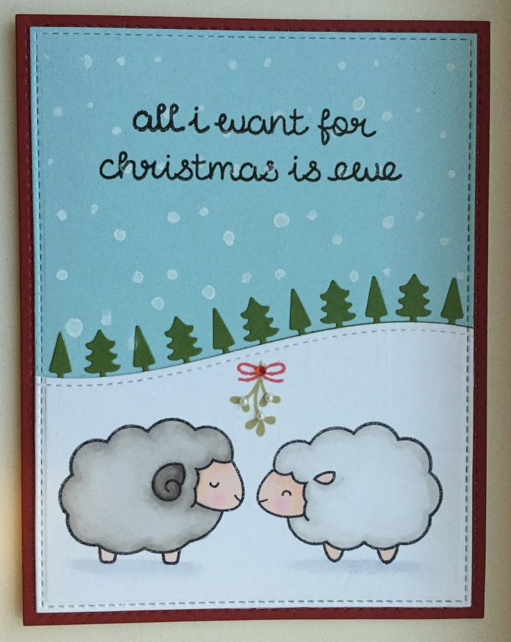Baaah Humbug stamp set as well as Stitched Hillside Borders die and Forest Border die by Lawn Fawn. Card by Mocha Frap Scrapper.
