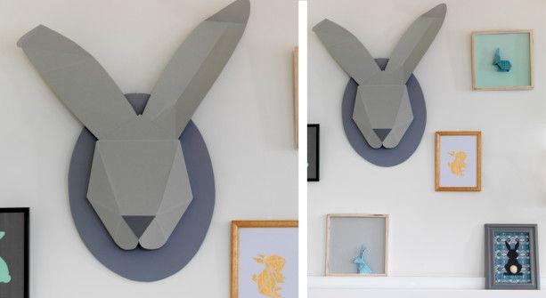 Un lapin mural en papier pour ma déco de Pâques