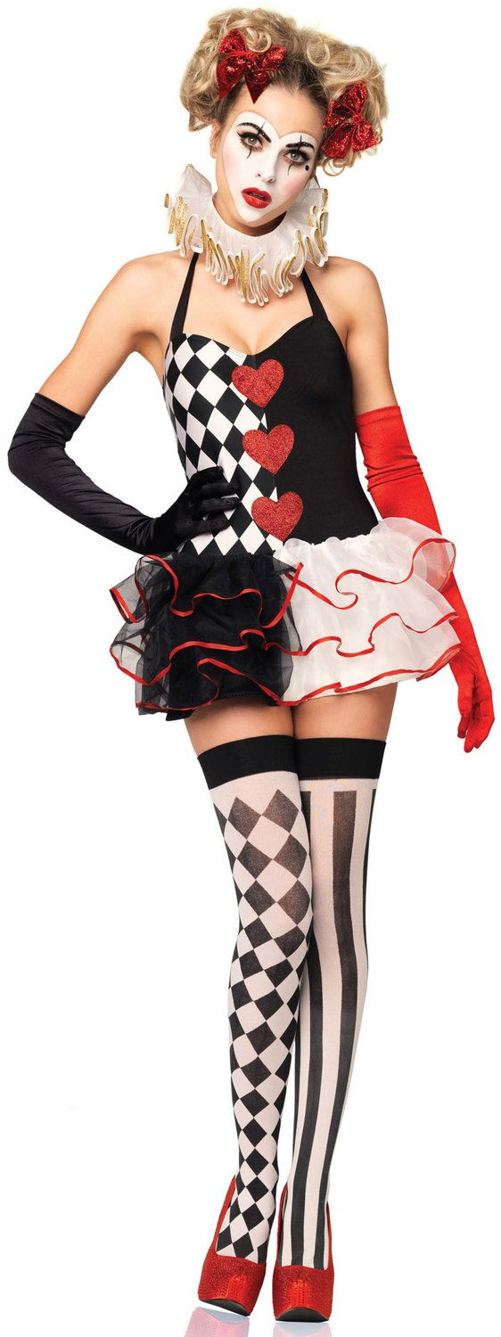 Split black and white checkerboard harlequin clown costume with festive neck ruff