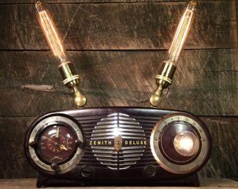 Teléfono rotatorio negro Vintage  lámpara de mesa cuello de