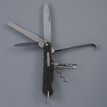 Multi-Blade Knife by W.T. Staniforth, Sheffield, with Seven Blades and Accessories and Two Slide-