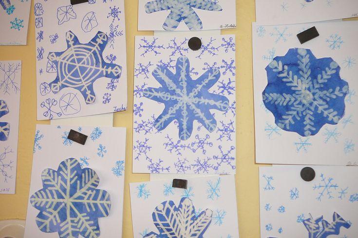Sněhové vločky - 1.tř., inkoust + zmizík