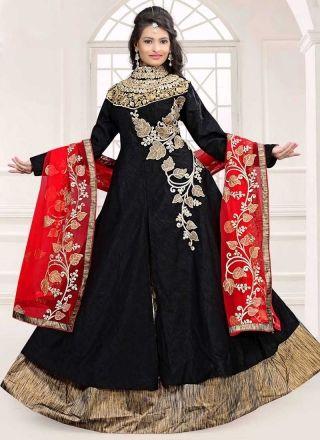Black Red Embroidery Work Bhagalpuri Silk Net Designer Anarkali Lehenga Suit http://www.angelnx.com/Salwar-Kameez/Anarkali-Suits