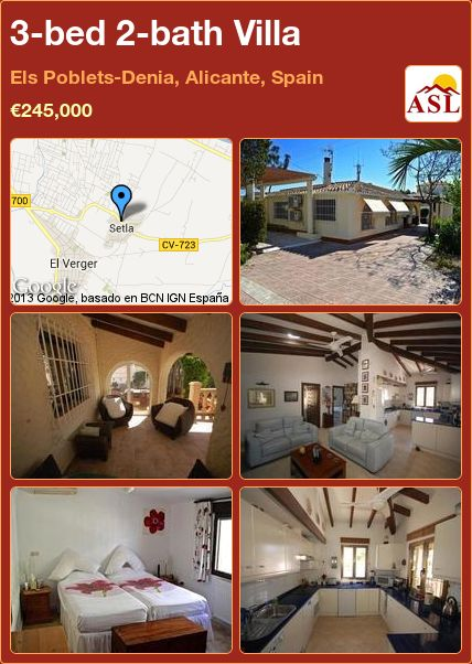 3-bed 2-bath Villa in Els Poblets-Denia, Alicante, Spain ►€245,000 #PropertyForSaleInSpain