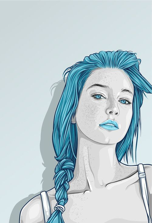 I really like the look and style of this illustration. The soft colors against the blue of the hair really looks nice and stylized. The illustration itself is very realistic but doesnt have the soft fade between the shades of her skin, which I like about it.
