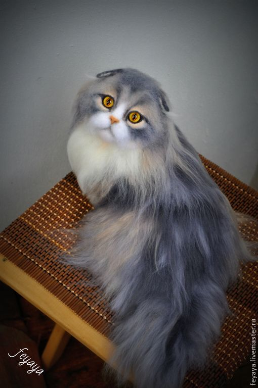 STUNNING! Beautiful Needle Felted long haired Scottish Fold Cat by artist Feyaya on livemaster.ru