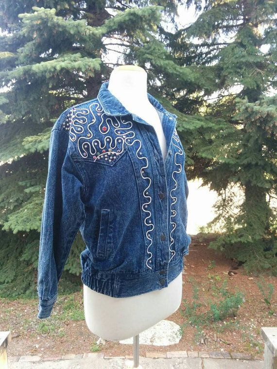 Check out this item in my Etsy shop https://www.etsy.com/listing/462448815/1980s-bedazzled-jean-jacket-jewels-gems