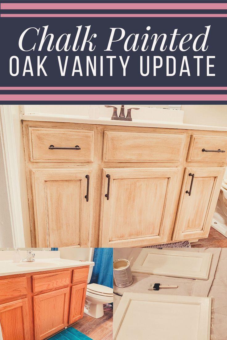 oak vanity update with rustoleum chalk paint  glaze