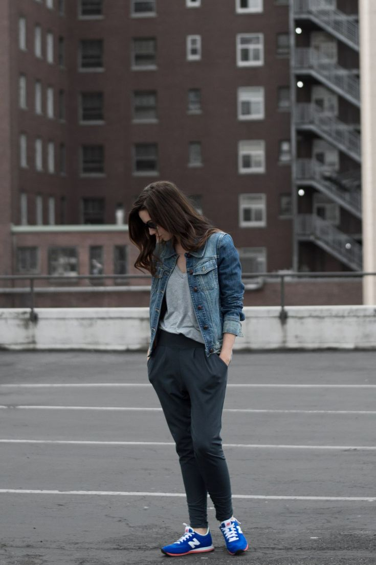Classic in Gray. 3 Ways To Wear A Dressy Sweatpant: Grey t-shirt+black dressy sweatpants+blue sneakers+denim jacket. Fall Outfit 2016