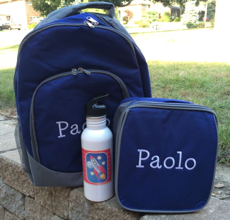 Personalized backpack, lunch bag and water bottle from #YouNameItBaby