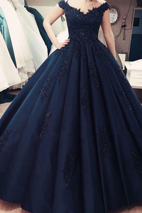 off the shoulder v neck prom dresses with appliques #navybluepromdresses #offtheshoulderpromdresses #vneckpromdresses #2019promdresses #dressesforwomen